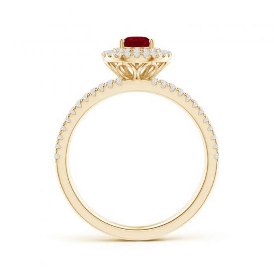 Кольцо двойное из золота с рубином и бриллиантами,  Больше Изображение 2