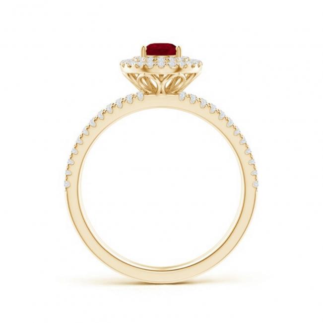 Кольцо двойное из золота с рубином и бриллиантами