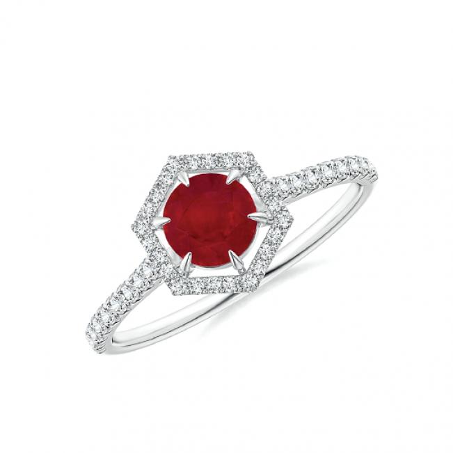 Кольцо с рубином в бриллиантовом шестиугольнике