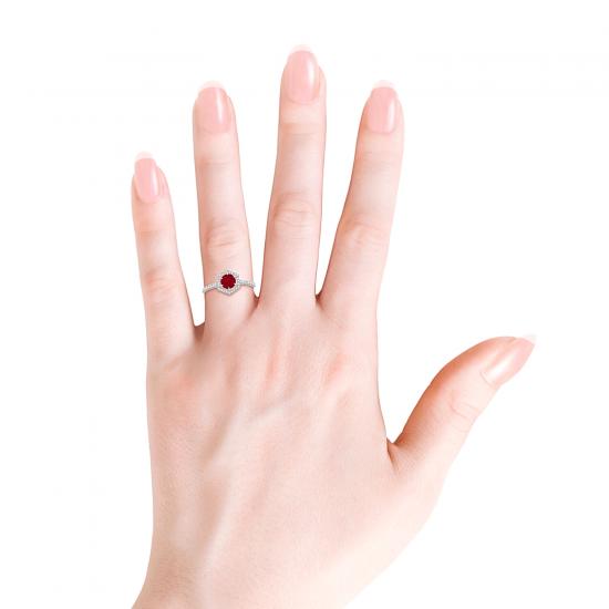Кольцо с рубином в бриллиантовом шестиугольнике,  Больше Изображение 4