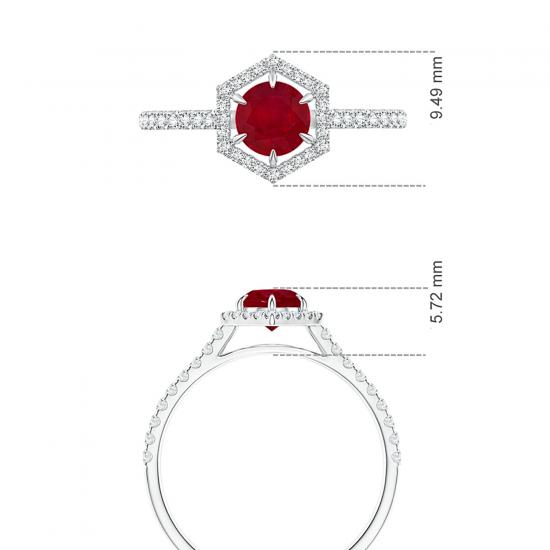 Кольцо с рубином в бриллиантовом шестиугольнике,  Больше Изображение 5