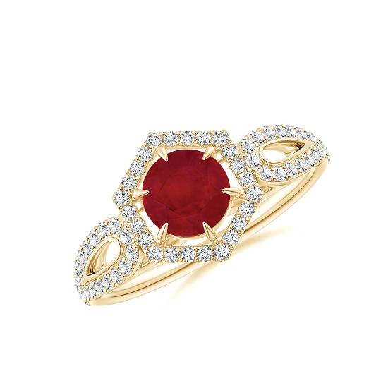 Кольцо с рубином и бриллиантами из золота, Больше Изображение 1