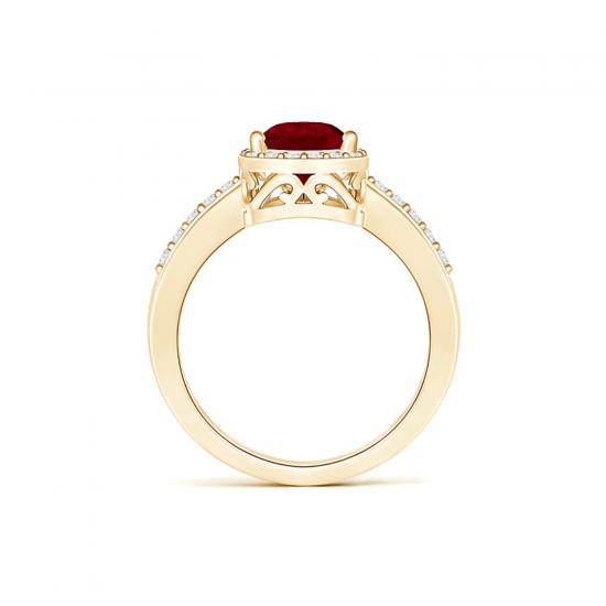 Кольцо с рубином Капля и бриллиантами,  Больше Изображение 2