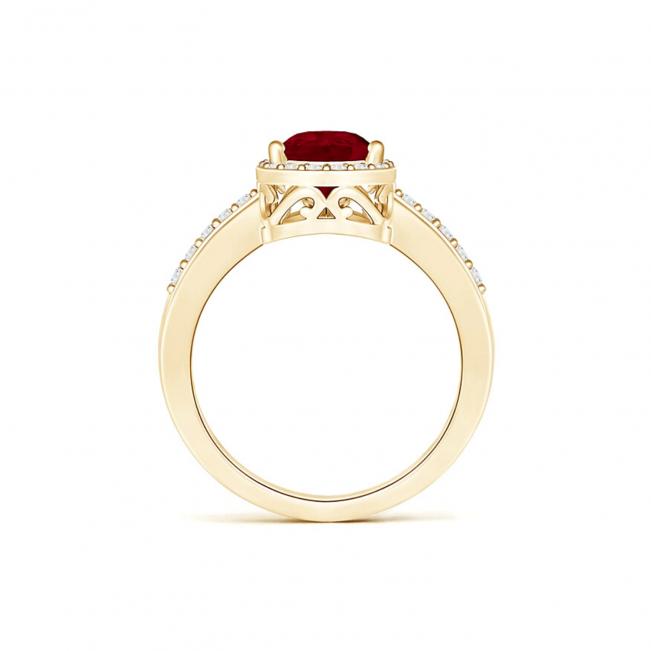 Кольцо с рубином Капля и бриллиантами