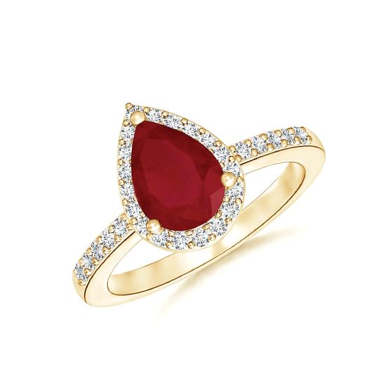 Кольцо с рубином Капля и бриллиантами, Больше Изображение 1