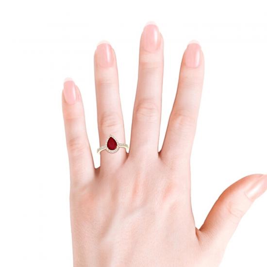 Кольцо с рубином Капля и бриллиантами,  Больше Изображение 4