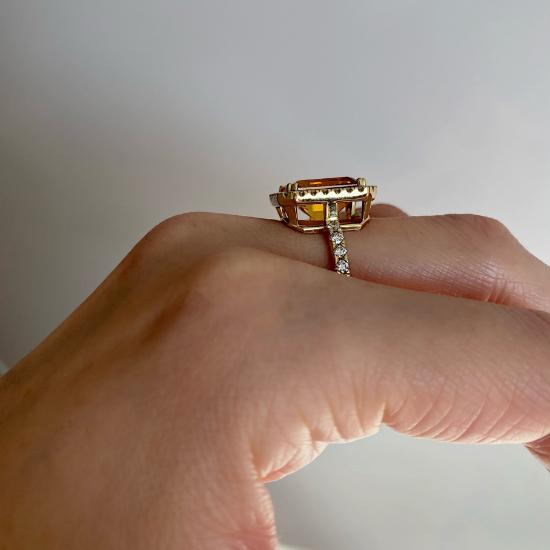 Кольцо с прямоугольным цитрином 5 карат,  Больше Изображение 3