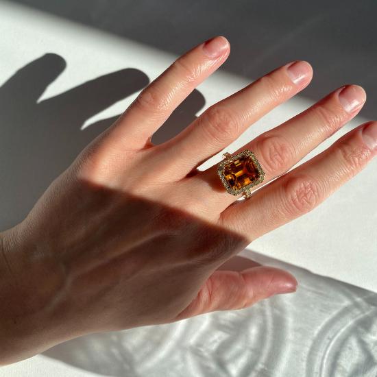 Кольцо с прямоугольным цитрином 5 карат,  Больше Изображение 4