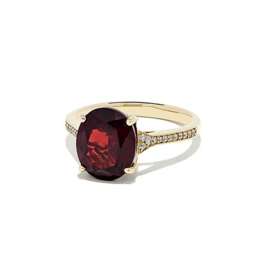 Кольцо из золота с гранатом и бриллиантами,  Больше Изображение 2