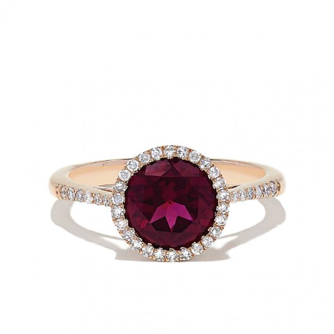 Кольцо из золота с круглым гранатом и бриллиантами