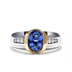 Кольцо с овальным танзанитом