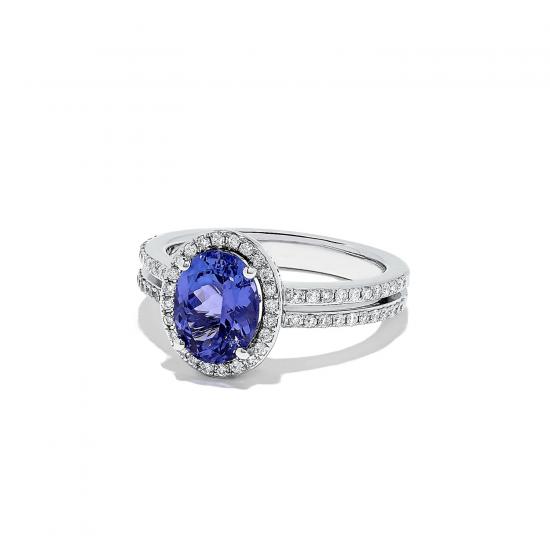 Кольцо с танзанитом овал и бриллиантами,  Больше Изображение 2