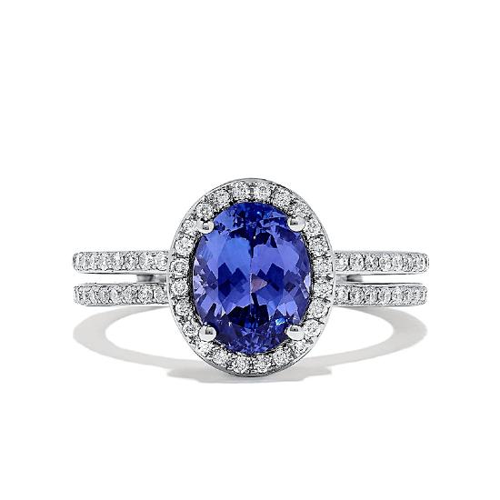 Кольцо с танзанитом овал и бриллиантами, Больше Изображение 1