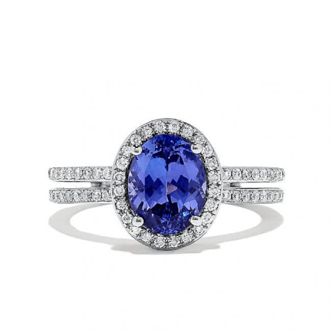 Кольцо с танзанитом овал и бриллиантами
