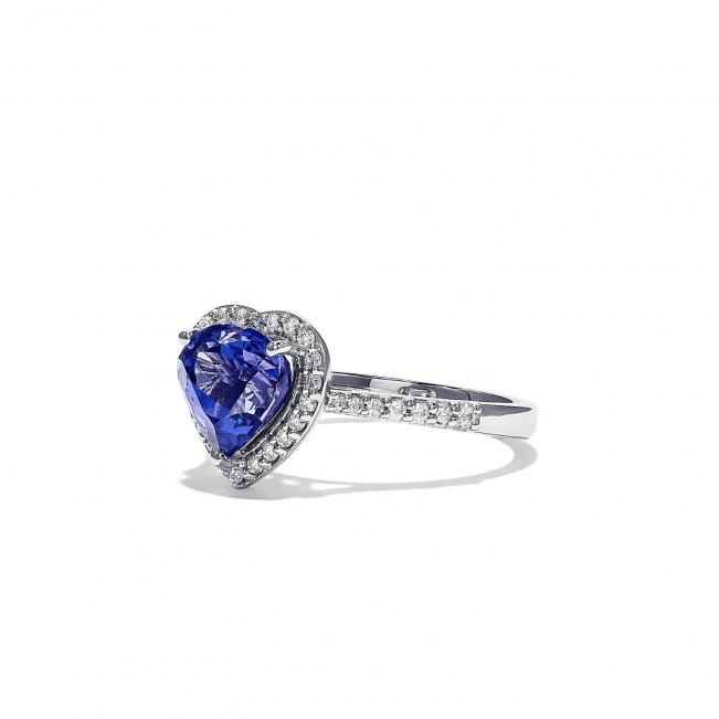 Кольцо с танзанитом сердце - Фото 1