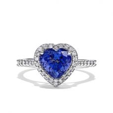 Кольцо с танзанитом сердце