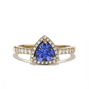 Кольцо из золота с танзанитом и бриллиантами
