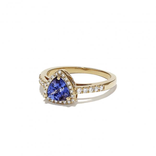 Кольцо из золота с танзанитом и бриллиантами - Фото 1