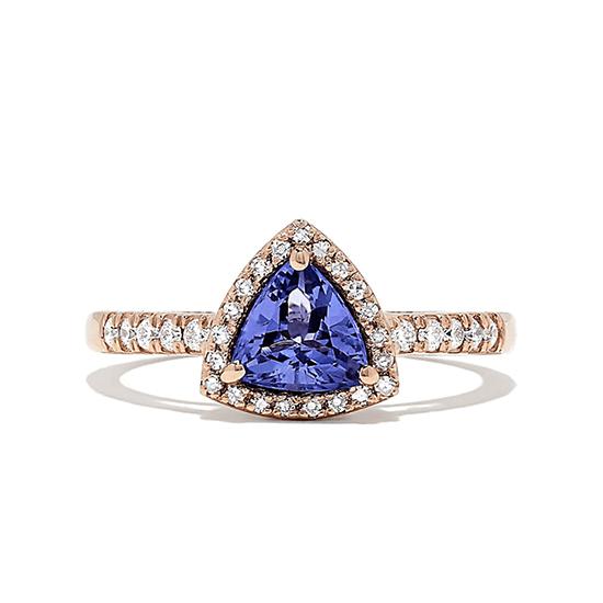 Кольцо с танзанитом и бриллиантами из розового золота, Больше Изображение 1