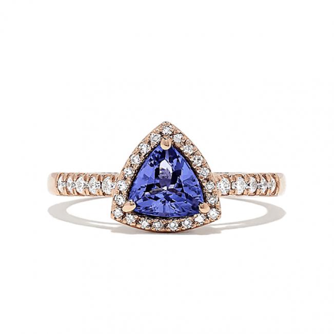 Кольцо с танзанитом и бриллиантами из розового золота