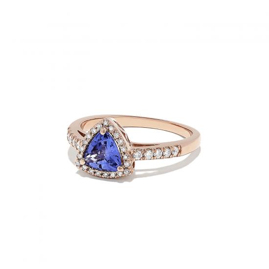 Кольцо с танзанитом и бриллиантами из розового золота,  Больше Изображение 2