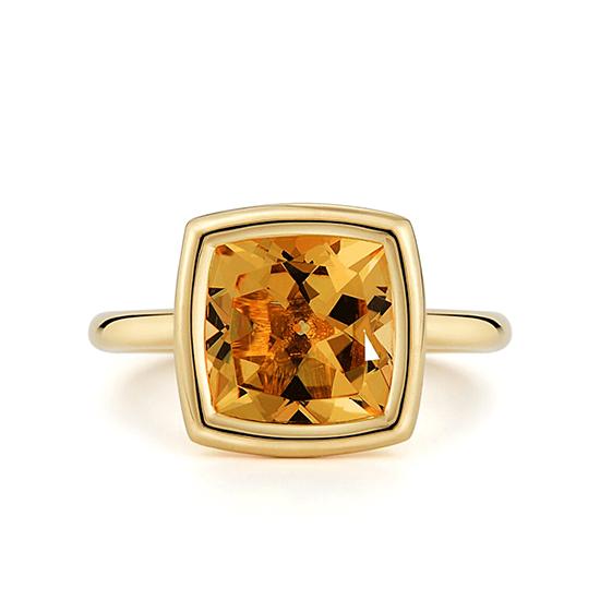 Кольцо с цитрином в желтом золоте, Больше Изображение 1