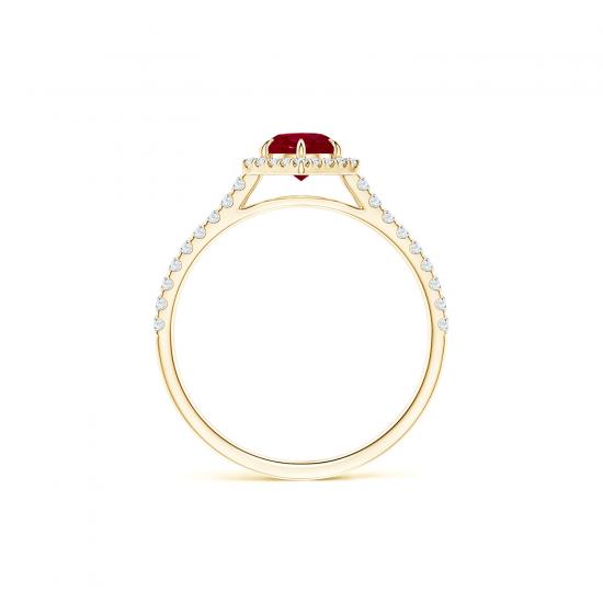 Кольцо с рубином и бриллиантами из золота,  Больше Изображение 2