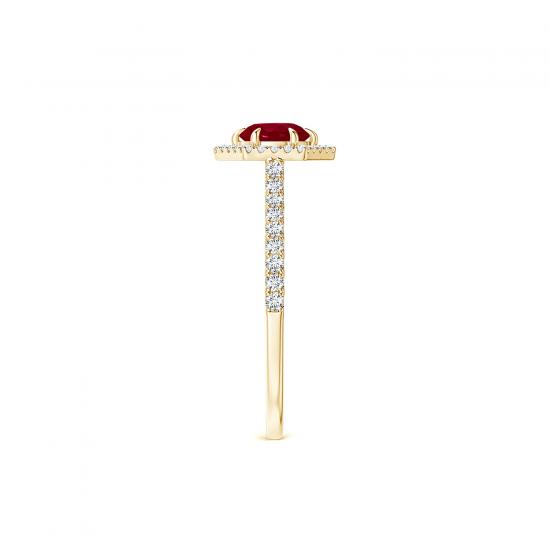 Кольцо с рубином и бриллиантами из золота,  Больше Изображение 3