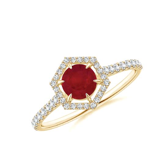 Кольцо золотое с рубином и бриллиантами Miel, Больше Изображение 1
