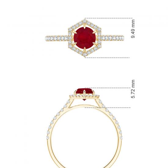Кольцо с рубином и бриллиантами из золота,  Больше Изображение 5