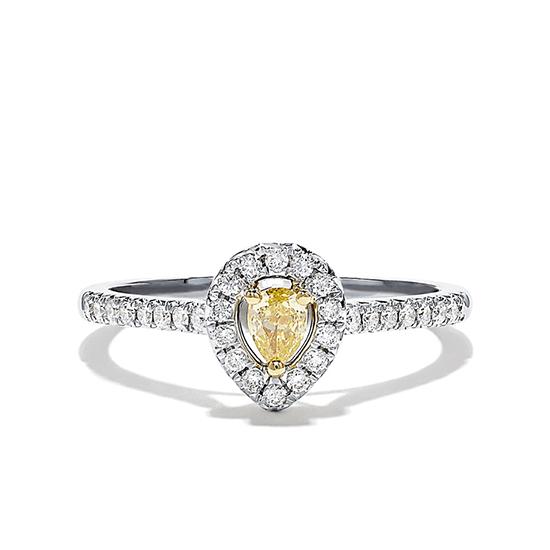 Кольцо с желтым бриллиантом Груша, Больше Изображение 1