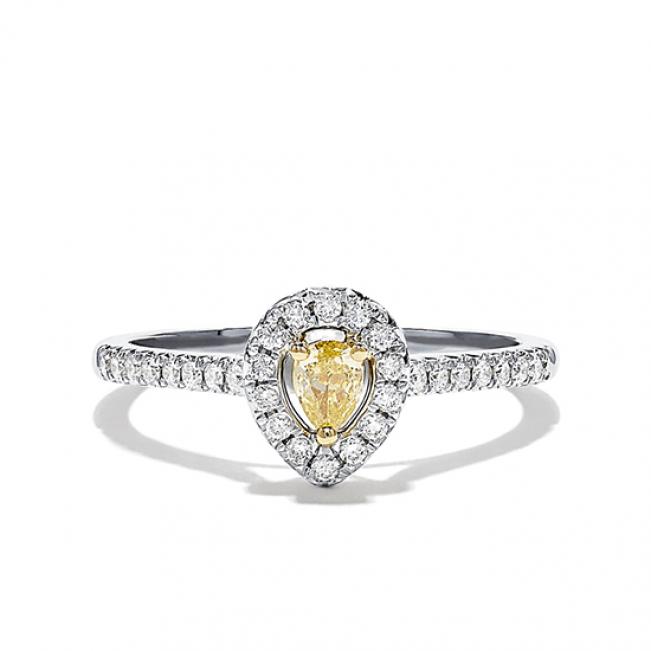 Кольцо с желтым бриллиантом Груша
