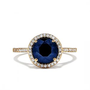 Кольцо с круглым сапфиром в паве
