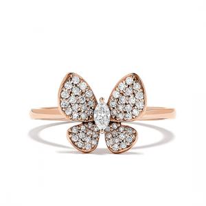 Кольцо Бабочка с бриллиантами