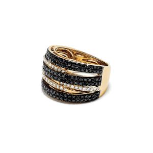 Широкое необычное кольцо с бриллиантами - Фото 1