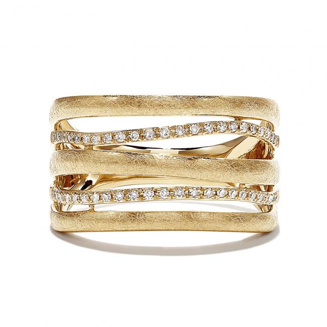 Широкое кольцо из золото с бриллиантами