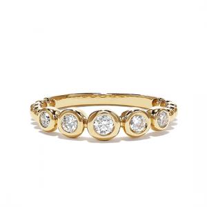 Кольцо дорожка с бриллиантами в желтом золоте