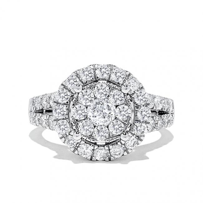 Кольцо малинка с бриллиантами 1.94 карат