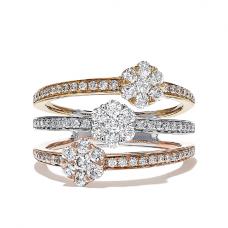 Кольцо Три золота в стиле малинка