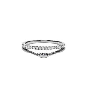 Кольцо дорожка с бриллиантами и цепочкой - Фото 3