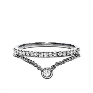 Кольцо дорожка с бриллиантами и цепочкой