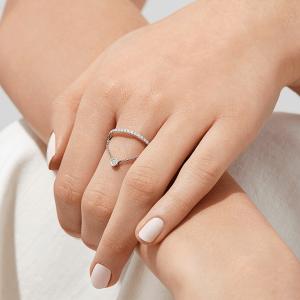 Кольцо дорожка с бриллиантами и цепочкой - Фото 2