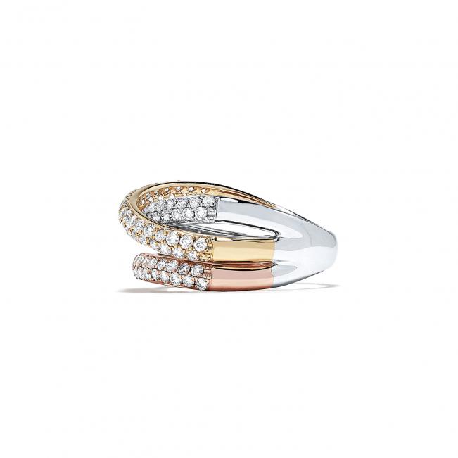 Кольцо из 3 видов золота с паве из бриллиантов - Фото 1