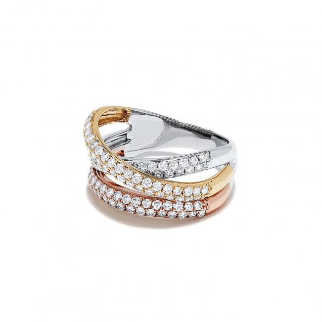 Кольцо из 3 видов золота с паве из бриллиантов - Фото 2