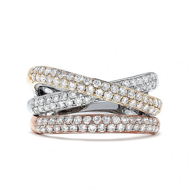 Кольцо из 3 видов золота с паве из бриллиантов