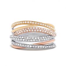 Кольцо из 3 видов золота с бриллиантовыми дорожками