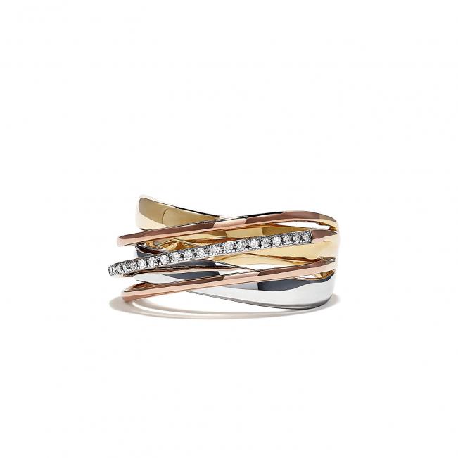 Кольцо из 3 видов золота с бриллиантами