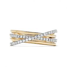 Широкое кольцо с бриллиантами из комбинированного золота