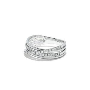 Широкое кольцо с бриллиантами из белого золота - Фото 1