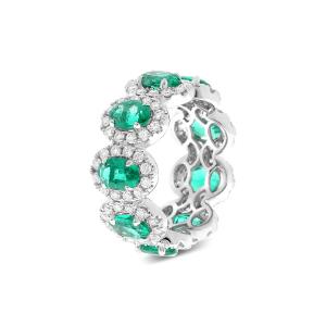 Кольцо дорожка с бриллиантами и изумрудами
